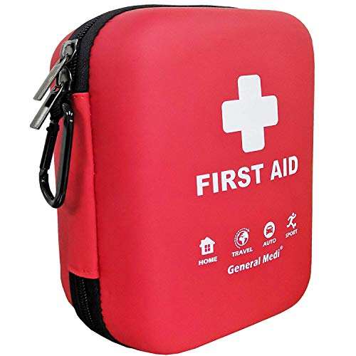 First Aid Kit - 170 Pieces Hard Case and Lightweight - Includes 2 x Eyewash,Instant Cold Pack,Emergency Blanket for Travel, Home, Office, Vehicle, Camping, Workplace & Outdoor (Red)