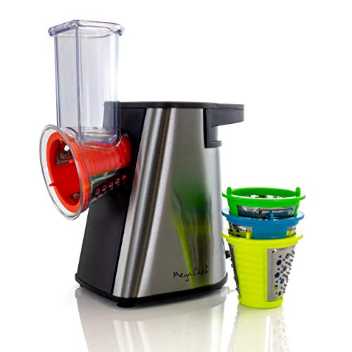 MegaChef 4 in 1 Stainless Steel Electric Maker, Salad Shooter, Shredder, Slicer, Chopper One-Touch Control and Attachments, 13 Inch, Chrome and Multicolor Pods