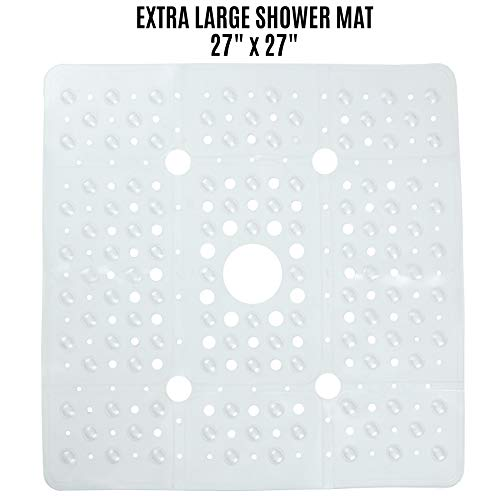 SlipX Solutions Extra Large Square Shower Mat Provides 65% More Coverage & Non-Slip Traction (27' Sides, 100 Suction Cups, Great Drainage) (Clear)