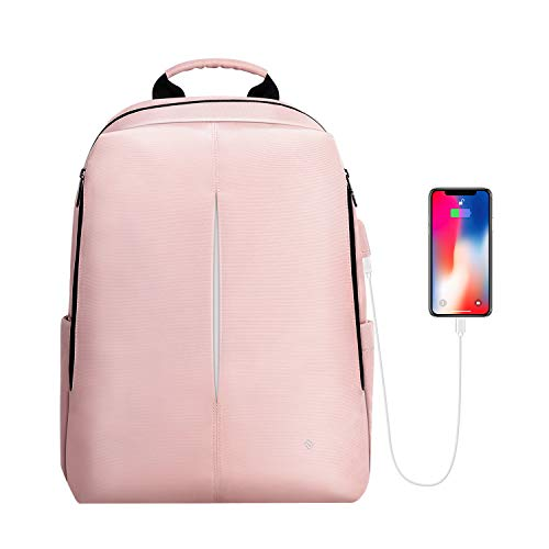 FINPAC Laptop Backpack, Casual Daypack with USB Port for Travel School Work (Pink)