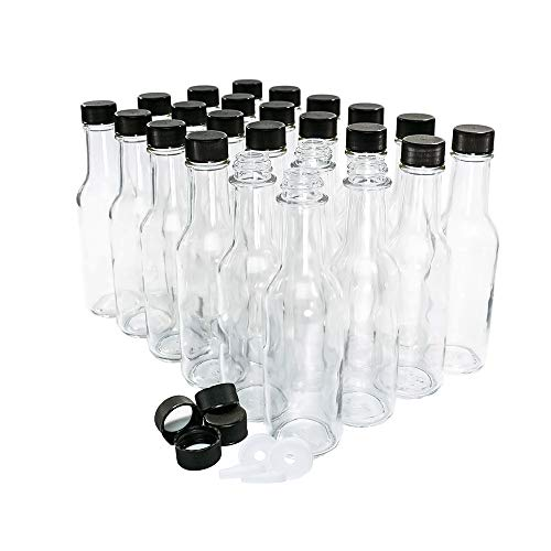 (24 Pack) 5 oz. Clear Glass Hot Sauce Bottle (woozy) with Black Cap and Orifice Reducer