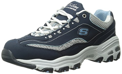 Skechers womens D'lites - Life Saver Memory Foam Lace-up Sneaker,Navy/White,10 M US