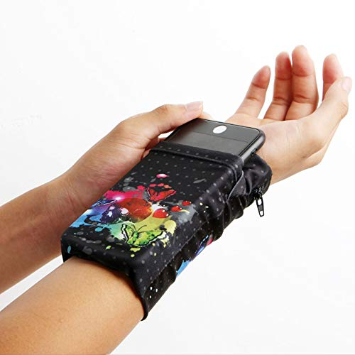 SIKOYA Universal Phone Holder for Running Sports Armband fit for All Samsung iPhones, 2 Pocket 1 Zip Pocket Key Holder Wristband Stretches