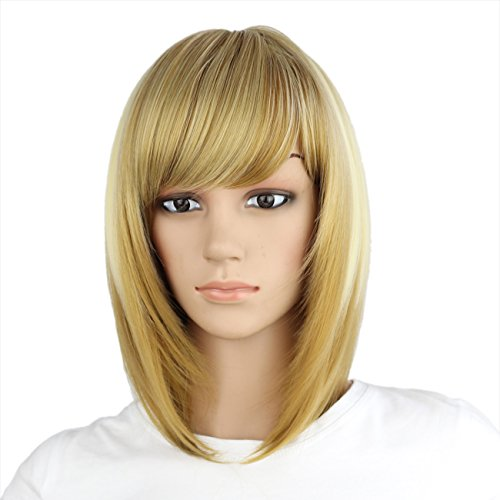 eNilecor Straight Short Bob Wigs 14' with Side Bangs Cosplay Hair Wig for Women Natural As Real Hair (Highlighted Blonde)