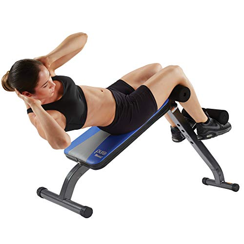 Pure Fitness Adjustable Ab Crunch Sit-Up Bench for toning and training, Foldable and Adjustable Design, Blue (8642AB)