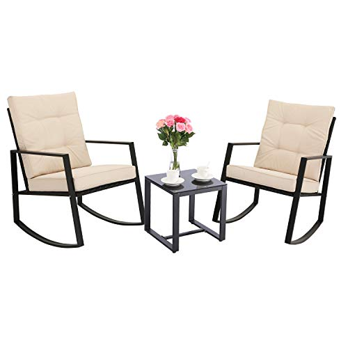 HTTH 3 Pieces Outdoor Rocking Chair Bistro Set Steel Furniture with Glass Coffee Table Thickened Cushion Wicker Rattan Set Lawn Garden Backyard Balcony Furniture (Beige)