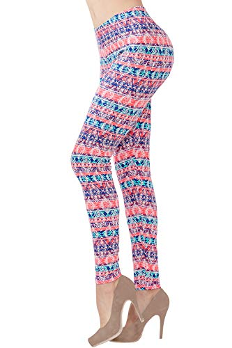Womens High Rise Soft Printed Leggings Ankle Length Stretch Fashion Pattern Leggings(M,Diamond Coral)