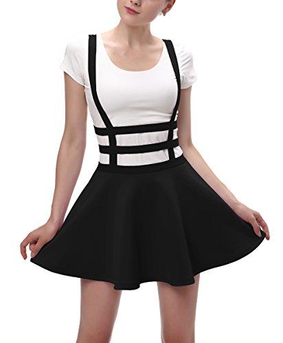 Urban CoCo Womens Elastic Waist Pleated Short Braces Skirt (Large, Black)