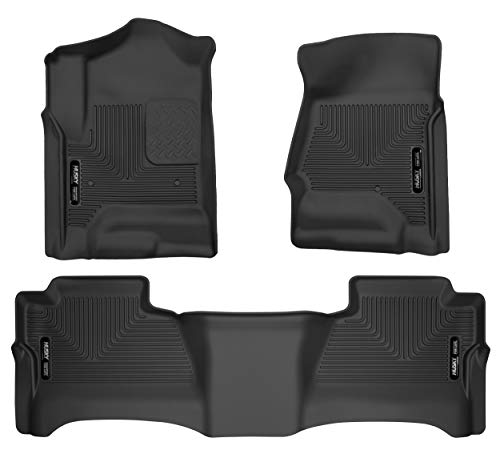 Husky Liners 99201 Black Weatherbeater Front & 2nd Seat Floor Liners Fits 2015-2019 Chevrolet Tahoe, 2015-2019 GMC Yukon