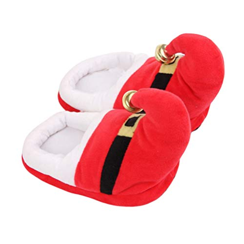 Amosfun 1 Pair Christmas Slippers Santa Claus Costume Accessories Plush Slippers Non Slip Slippers for Christmas Xmas Holiday Winter Size S (Red)