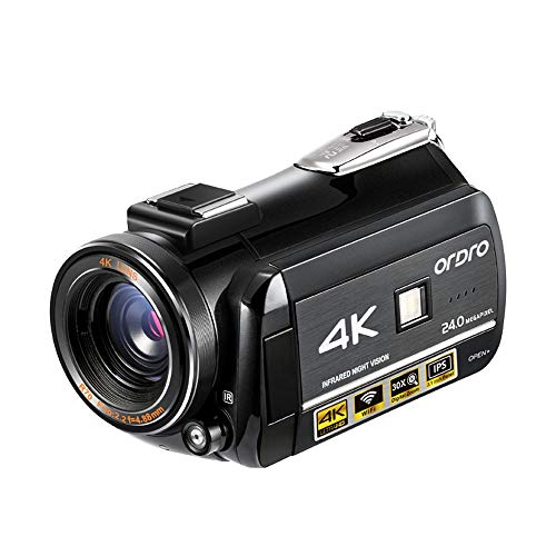 Video Camera 4K Camcorder IR Night Vision Camera Recorder 3.1'' IPS Touch Screen Digital WiFi Camcorders with Microphone
