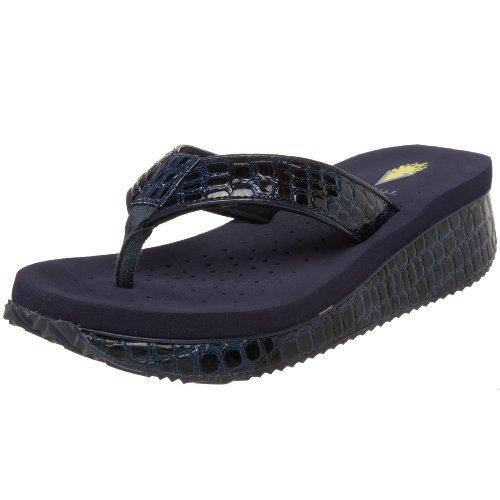 Volatile Women's Mini Croco Wedge Sandal, Navy, 9 B US