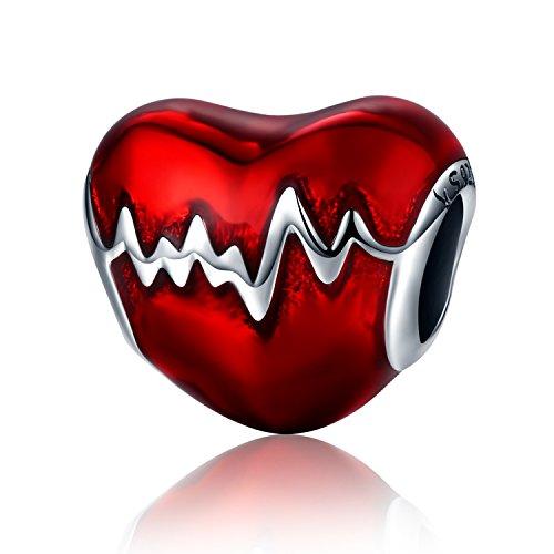 XingYue 925 Sterling Silver Heartbeat Charm Bead Red Enamel Love Heart Charm Love in My Heart Knot Charm Beads (Heart red Enamel Charm)