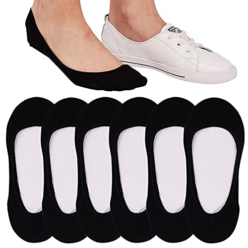 6 Pairs Ultra Low Cut No Show Socks Women Invisible for Flats and Dress Shoes Liner Socks for Women with Non-Slip Heel Grips