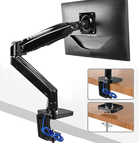 HUANUO Monitor Mount Stand - Long Single Arm Gas Spring Monitor Desk Mount for 22 to 35 Inch Computer Screens Height Adjustable VESA Bracket with Clamp, Grommet Mounting Base - Holds 6.6 to 26.4 lbs