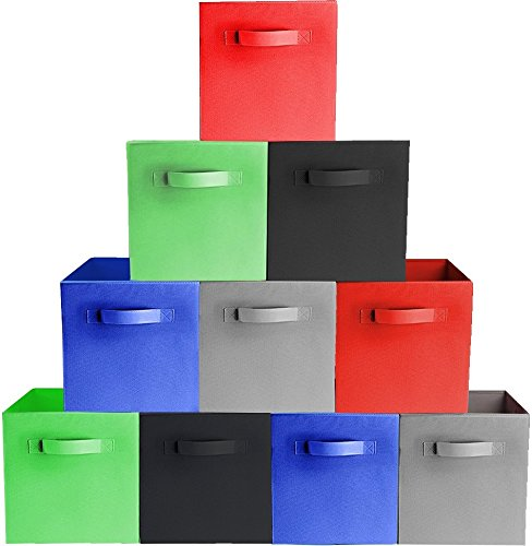 Prorighty [10-Pack, 5 Colors] Storage Bins, Containers, Boxes, Tote, Baskets| Collapsible Storage Cubes for Household Organization | Fresh Durable Fabric & Cardboard (Red,Black,Blue,Grey,Green)