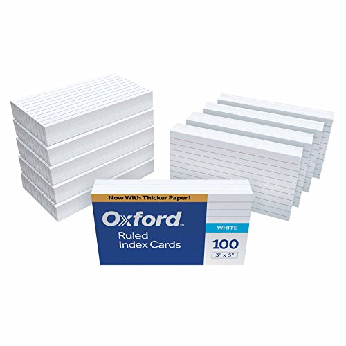 Oxford Ruled Index Cards, 3' x 5', White, 1,000 Cards (10 Packs of 100) (31)