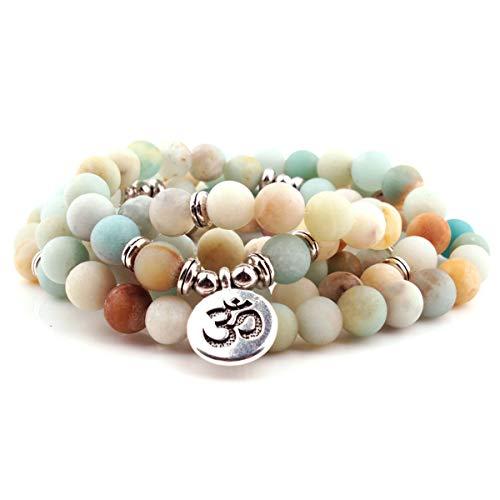 GVUSMIL 108 Mala Prayer Beads Matte Amazonite Wrap Bracelet OM Pendant Necklace for Meditation Rosary Yoga Healing