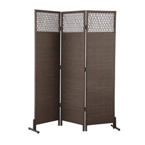 Brown Resin Wicker Outdoor Patio Privacy Screen 3 Panel 6 Foot Height