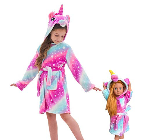 Soft Unicorn Hooded Bathrobe Sleepwear for Matching Doll & Girls (Pink Galaxy, 6-7 Years)