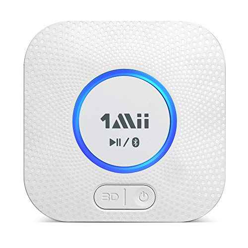 1Mii B06 Plus Bluetooth Receiver, HiFi Wireless Audio Adapter, Bluetooth Receiver with 3D Surround Low Latency for Home Music Streaming Stereo System (White)
