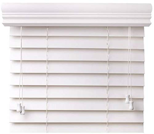 CBC - Custom 2' Faux Wood Blinds White w/Crown Valance - Width: 10-12' by Height: x 73-84' Size Window Blind