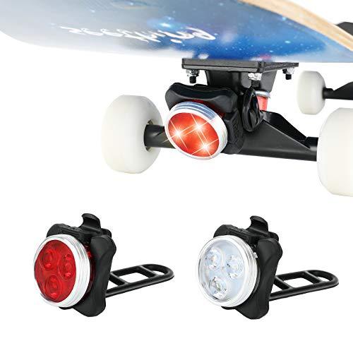 MoKo LED Skateboard Lights 2-Pack, Skateboard Front and Back Lights LED Lights for Longboards Skateboards Scooters Bike Lights USB Rechargeable Skateboard Bicycle Lights for Night Riding - Black