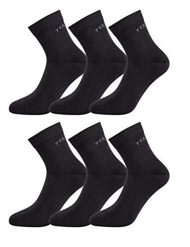 TISOKS Men's and Women's 6-Pack Black Sports Socks Anti Odor Anti Stink Deodorant Quarter Crew Socks for Athletes Foot