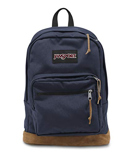 JanSport Right Pack Backpack - School, Travel, Work, or Laptop Bookbag with Leather Bottom, Navy