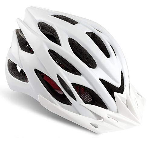 Basecamp Specialized Bike Helmet, Bicycle Helmet CPSC&CE Certified with Helmet Accessories-LED Light&Removable Visor&Portable Bag Cycling Helmet BC-DDTK Adjustable for Men/Women(White)