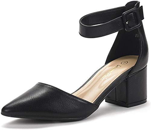 DREAM PAIRS Women's Annee Black Pu Low Heel Pump Shoes - 8 M US