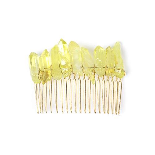 Crystal Quartz Hair Clip Wedding Hair Pin Wired Aura Quartz Raw Stone Hair Pin Accessories (yellow)