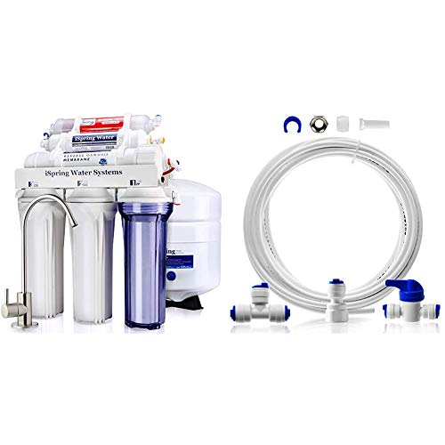 iSpring RCC7AK 6-Stage Superb Taste High Capacity Under Sink Reverse Osmosis Drinking Water Filter System, White & ICEK Ultra Safe Fridge Water Line Connection and Ice Maker Installation Kit, 1/4'