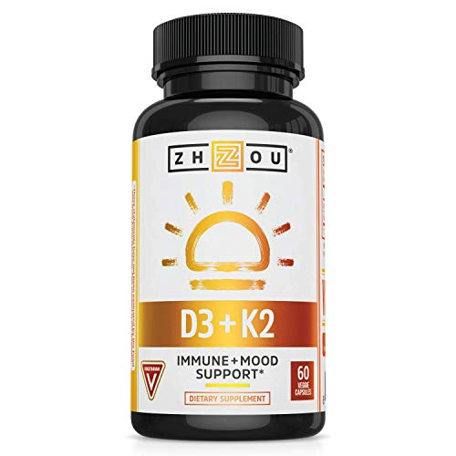 Zhou Vitamin K2 (MK7) with D3   Bone and Heart Health Formula   Immune Support   60 Vegetable Capsules