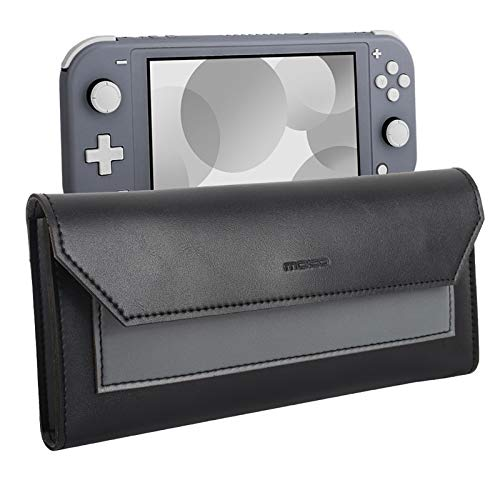 MoKo Slim Pouch Compatible with Nintendo Switch Lite, Travel Carry Case Storage Bag Carrying Case PU Leather Magnetic Clasp Closure Cover with Game Cartridges Holders - Black + Gray