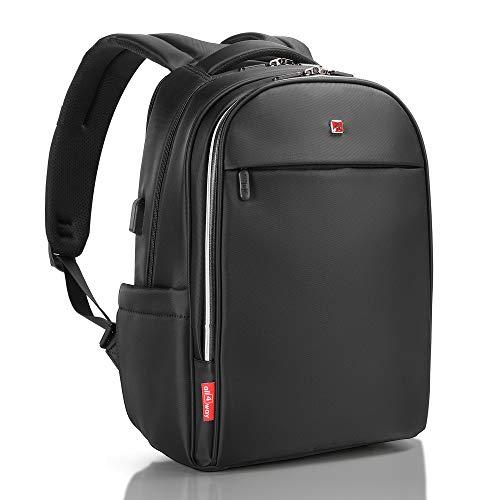 Laptop Backpack Black RFID Blocking - Travel Backpack USB Quick Charge - Swiss Design 17' Business - College School Waterproof Backpack for Men Women, New Model
