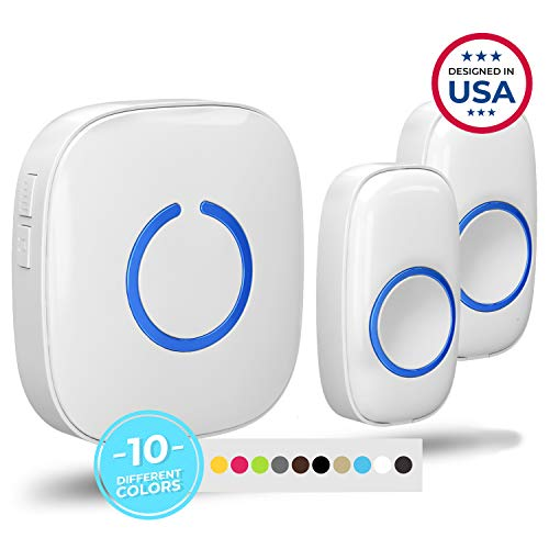 Wireless Doorbell by SadoTech – Waterproof Door Bells & Chimes Wireless Kit – Over 1000-Foot Range, 52 Door Bell Chime, 4 Volume Levels with LED Flash – Wireless Doorbells for Home – Model CX (White)
