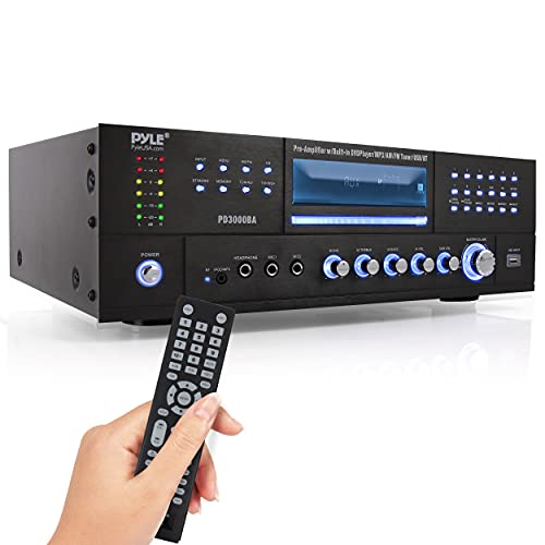 4-Channel Wireless Bluetooth Power Amplifier - 1000W Stereo Speaker Home Audio Receiver w/ FM Radio, USB, Headphone, 2 Microphone w/ Echo, Front Loading CD DVD Player, LED, Rack Mount - Pyle PD1000BA