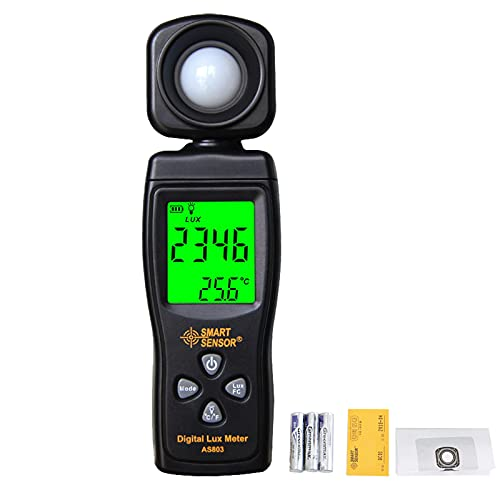Digital Illuminance Light Meters for Indoor Plants and Grow Lights with 0-200,000 Range, Photographic Light Meter for Foot Candles, LCD Display, Auto Power Off, Batteries Included