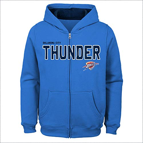 NBA by Outerstuff NBA Kids & Youth Boys Oklahoma City Thunder Stated Full Zip Fleece Hoodie, Strong Blue, Youth Medium(10-12)