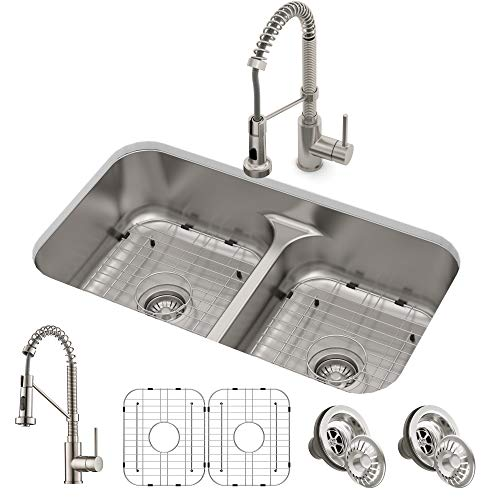 Kraus KCA-1200 Ellis Combo Set with 33' 16 Gauge Undermount Sink and Bolden 18-inch Pull-Down Commercial Style Kitchen Faucet, Spot Free Stainless Steel