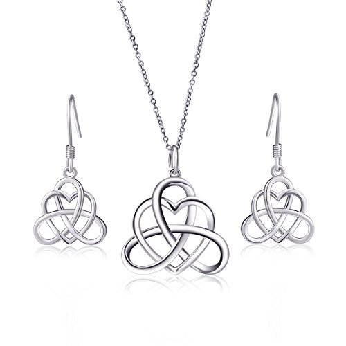925 Sterling Silver Good Luck Vintage Irish Celtic Triquetra Knot Heart Pendant Necklace and Earrings Jewelry Set for Women Teen Girls Girlfrind