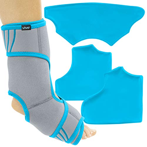 Vive Ankle Ice Pack Wrap - Foot Cold / Hot Compression Brace - Adjustable Freeze Support For Cooling / Heating Achilles Injuries, Tendonitis, Plantar Fasciitis, Sore Feet, Inflammation, Muscle Sprain