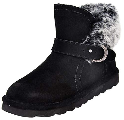 BEARPAW Women's Koko Boots, Black with Grey Fur, 9 M US