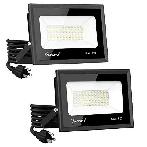 Onforu 2 Pack 60W LED Flood Light with Plug, 6500lm Super Bright LED Work Light, IP66 Waterproof Outdoor Security Lights, 5000K Daylight White Floodlight for Yard, Garden, Playground, Basketball Court