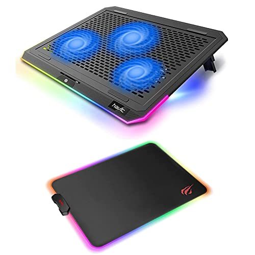 havit RGB Laptop Cooling Pad for 15.6-17 Inch Laptop with 3 Quiet Fans and Touch Control and RGB Gaming Mouse Pad Soft Non-Slip Rubber Base Mouse Mat