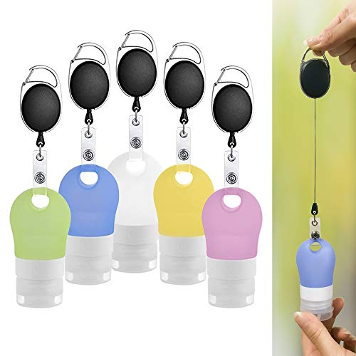 Squoozi Hand Sanitizer Holder Keychain Dispenser Set with Clip - Empty Portable Silicone Travel Bottles - Refillable Leak Proof Cosmetic Bottle for Toiletries, Shampoo, Liquid - TSA Approved (5 Pack)