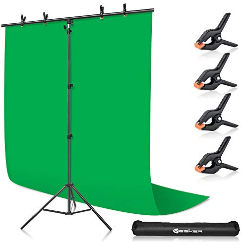 Yesker Green Screen Backdrop with Stand, Portable Green Screen Kit with 5x7ft Adjustable T-Shape Background Support Kit for Studio Photography Video Zoom Streaming Gaming
