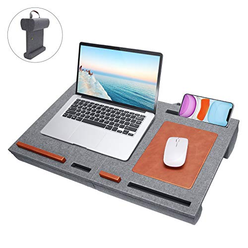Laptop Desk Stand with Mouse Pad - Fits up to 15 inches Folding Mat Pillow Lap Desk Adjustable with Cushion Wrist Pad, Laptop Pads Stand for Notebook, MacBook, Book Tablet Portable with Phone Holder