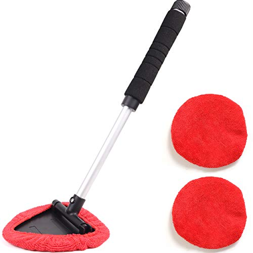 Windshield Window Cleaner Tool, Unbreakable Extendable Long-Reach Handle, Unique Pivoting Triangular Head, 3 Washable Reusable Microfiber Bonnets, Car & Home Inside Interior Exterior Use - Lint Free